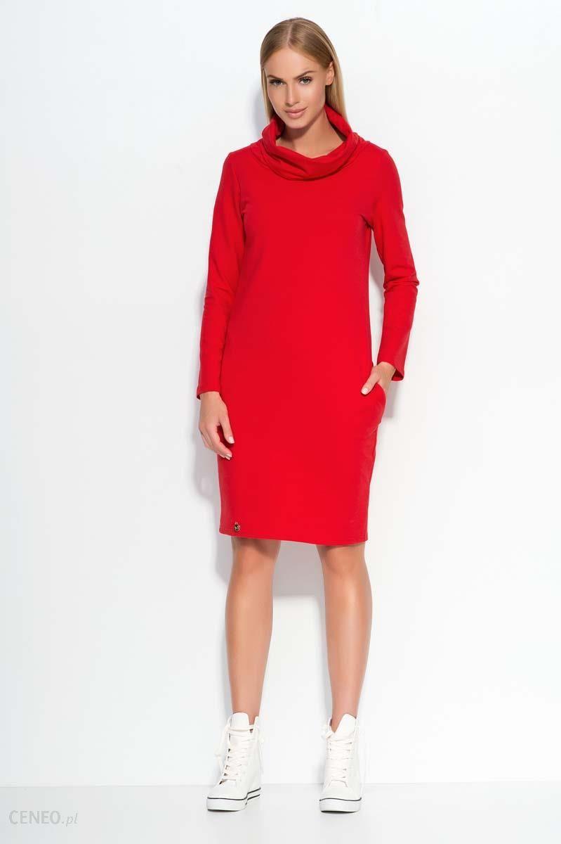 2273bfc679 Makadamia Czerwona Sukienka Dresowa z Wywijanym Golfem - Ceny i ...