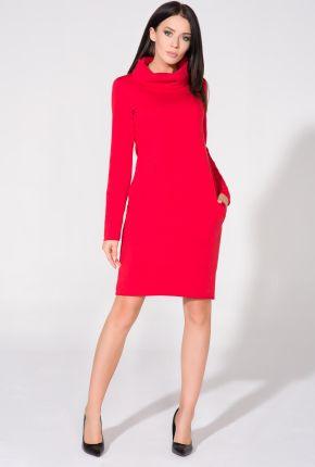 bb2f1e3a60 Rozkloszowana sukienka do kolan z długim rękawem czerwona T146 ...