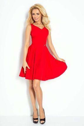 170427099b Numoco Czerwona Sukienka Elegancka Rozkloszowana na Szerokich Ramiączkach