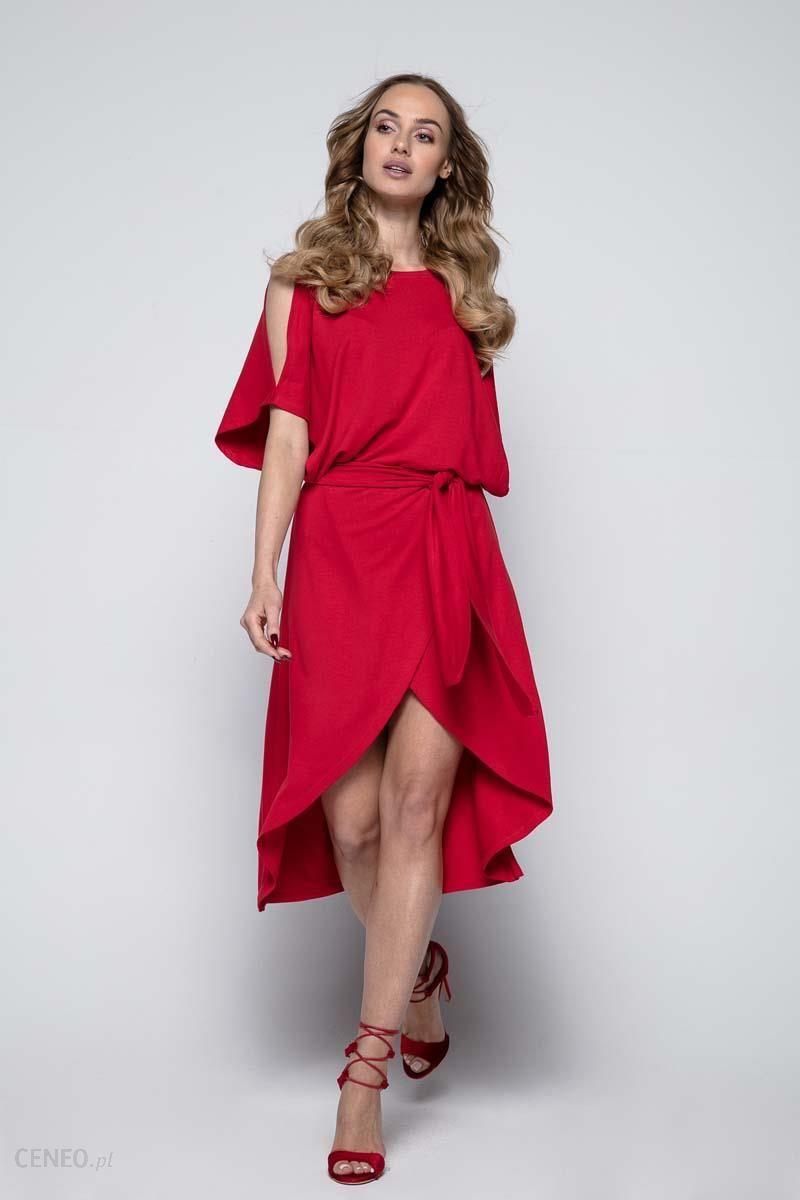 0e895162c3 Fobya Czerwona Sukienka Koktajlowa z Rozciętymi Rękawami - Ceny i ...