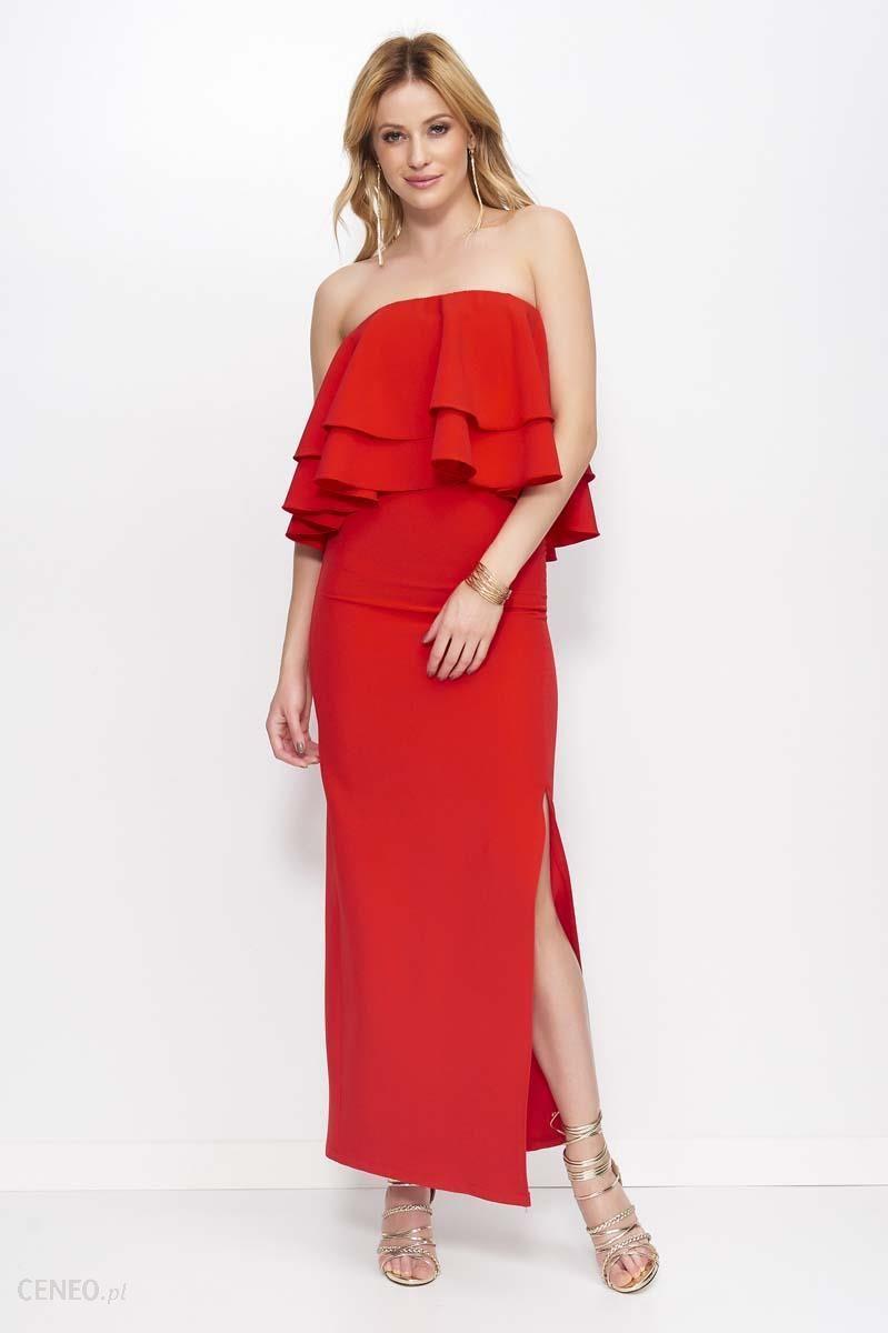 91f73f3bb9 Makadamia Czerwona Sukienka Maxi Wieczorowa z Rozcięciem na Boku - zdjęcie 1
