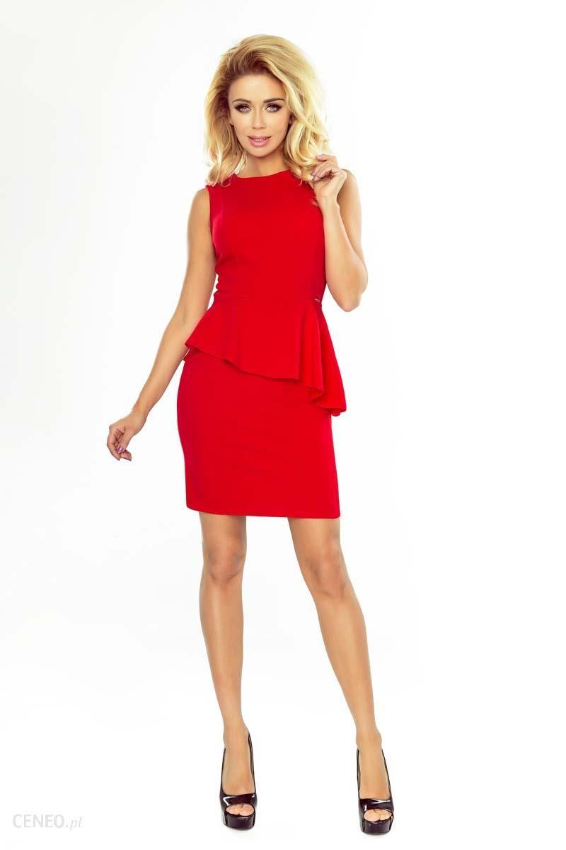 9de6be357b Numoco Czerwona Sukienka Ołówkowa bez Rękawów z Asymetryczną Baskinką -  zdjęcie 1
