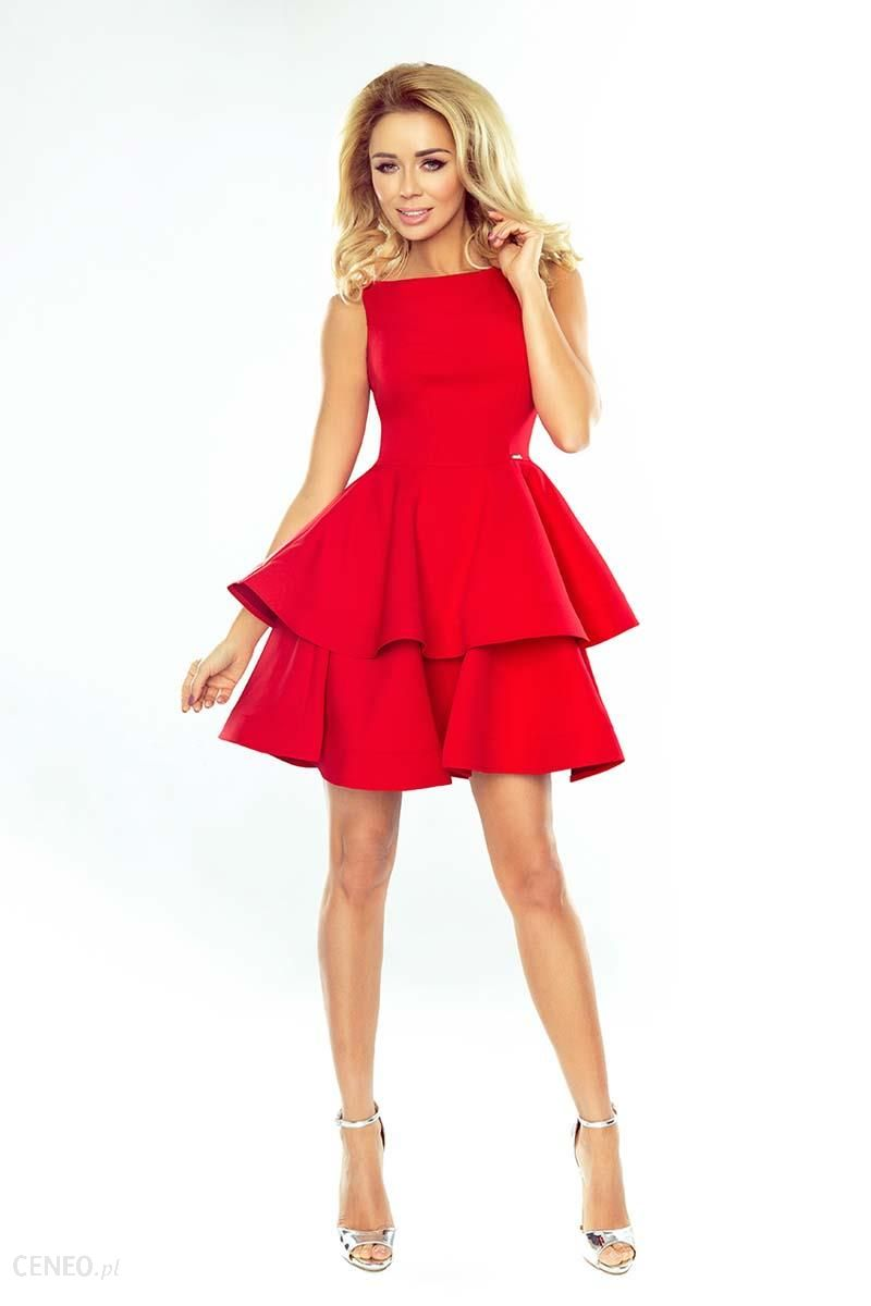 ce01078497 Numoco Czerwona Sukienka Rozkloszowana z Podwójną Falbanką - Ceny i ...