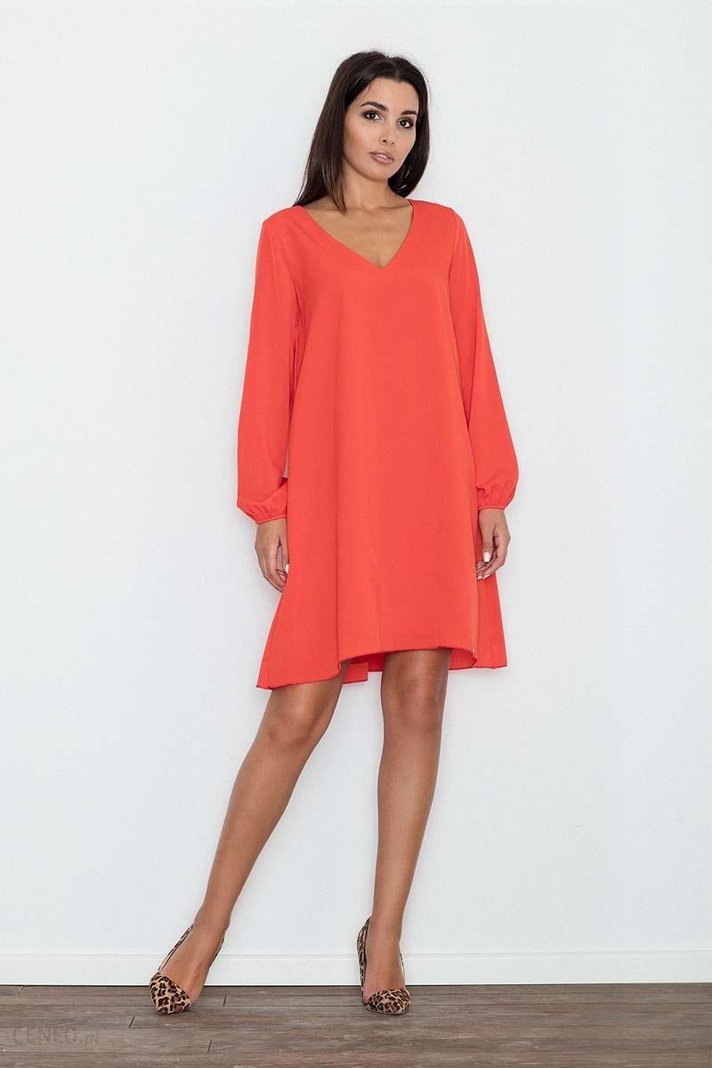 8524309e14 Figl Czerwona Sukienka Trapezowa z Długim Rękawem - Ceny i opinie ...
