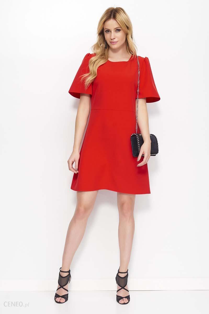 08177a3ab3 Makadamia Czerwona Sukienka Trapezowa z Kloszowanym Rękawem - Ceny i ...