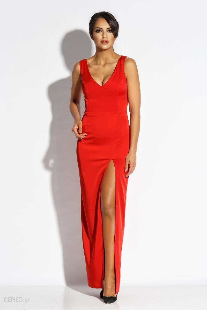 bcef6c1e198ef6 Dursi Czerwona Sukienka Wieczorowa Maxi z Długim Rozcięciem - Ceny i ...