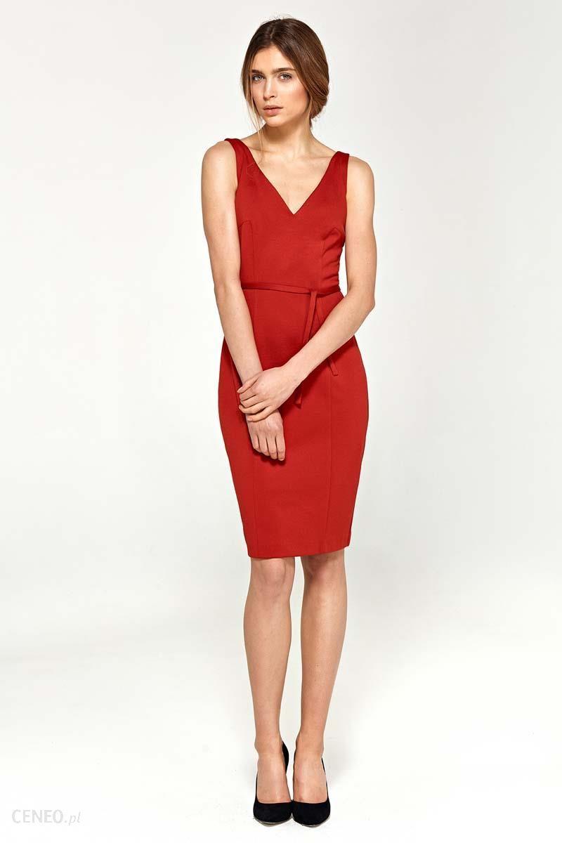 418e4f8b0e Nife Czerwona Sukienka z Dekoltem V na Szerokich Ramiączkach z Paskiem -  zdjęcie 1