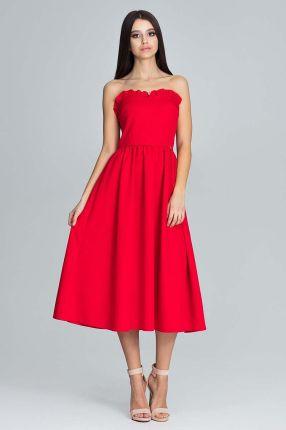 488bff6d69 Figl Czerwona Wieczorowa Midi Sukienka Gorsetowa z Falbankami