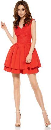 43fdcc5c31 Lemoniade Czerwona Wieczorowa Sukienka z Koronką z Rozkloszowanym Dołem