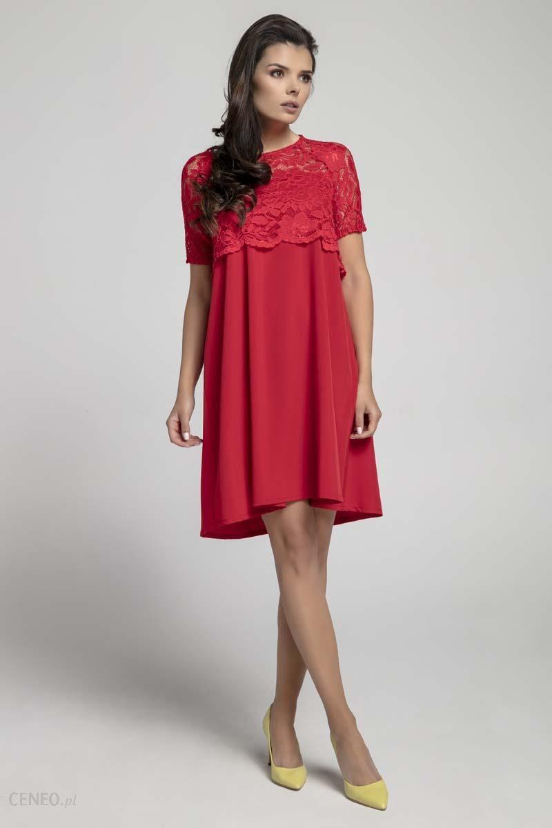 0f6ebd0681 Nommo Czerwona Wizytowa Sukienka Trapezowa z Koronkową Nakładką - zdjęcie 1