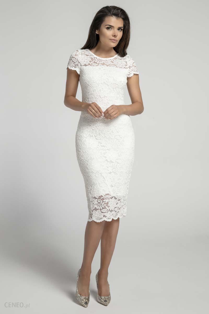 201fc6006f Nommo Ecru Koronkowa Ołówkowa Sukienka Midi z Dekoltem V na Plecach -  zdjęcie 1