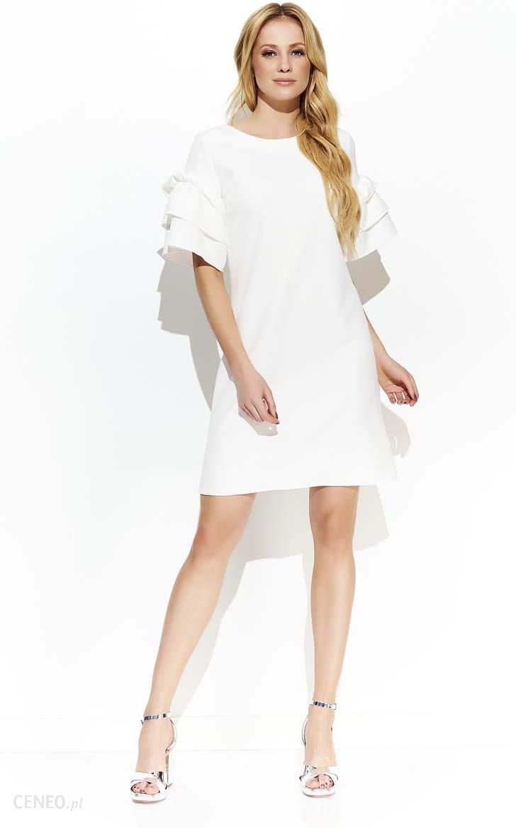 16192e47e7 Makadamia Ecru Stylowa Luźna Sukienka z Falbankami na Rękawach - zdjęcie 1