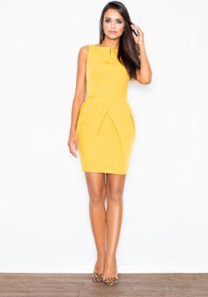 8ad977e431 Figl Elegancka Żółta Sukienka bez Rękawów z Drapowaniem
