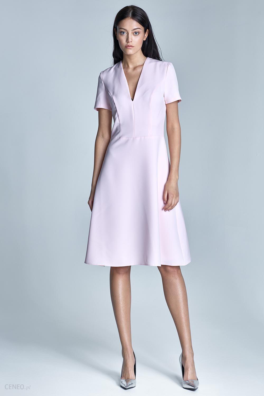 43f5375727 Nife Elegancka Różowa Sukienka Midi z Głębokim Dekoltem w Szpic - zdjęcie 1