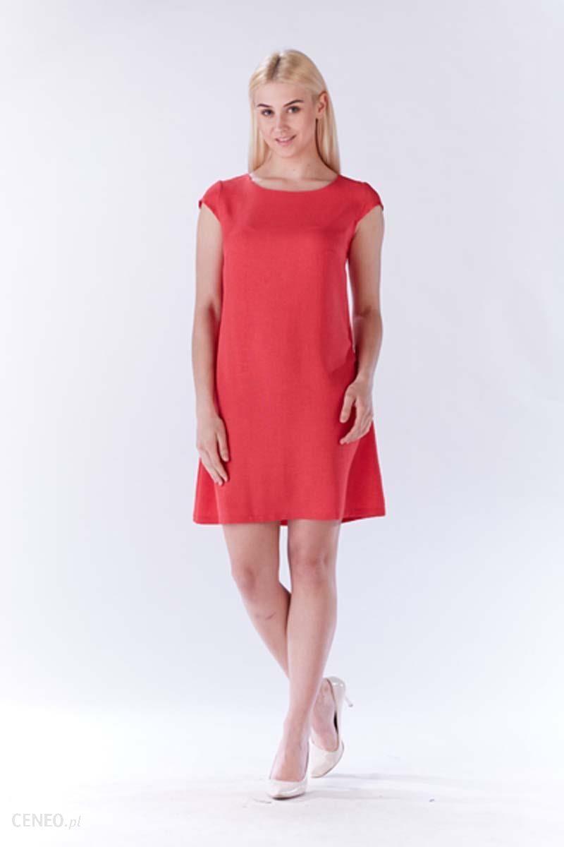 e05ceb4b86 Lou-Lou Fuksja Sukienka Zwiewna Trapezowa z Mini Rękawkiem - Ceny i ...