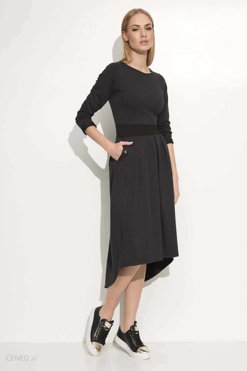69a96f198c Makadamia Grafitowa Sukienka Asymetryczna Midi z Podkreśloną Talią -  zdjęcie 1