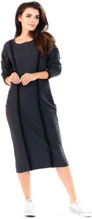 16a7e4202a Awama Grafitowy Sukienka Dzianinowa za Kolano z Ozdobnymi Przeszyciami