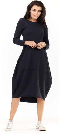 0475b42584 Awama Granatowa Dzianinowa Midi Sukienka Bombka z Długim Rękawem