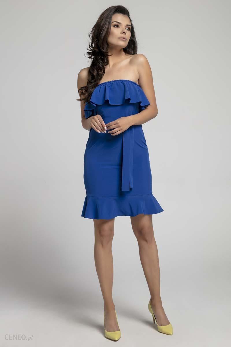 3d556820aa Nommo Granatowa Koktajlowa Sukienka Typu Hiszpanka z Paskiem - zdjęcie 1