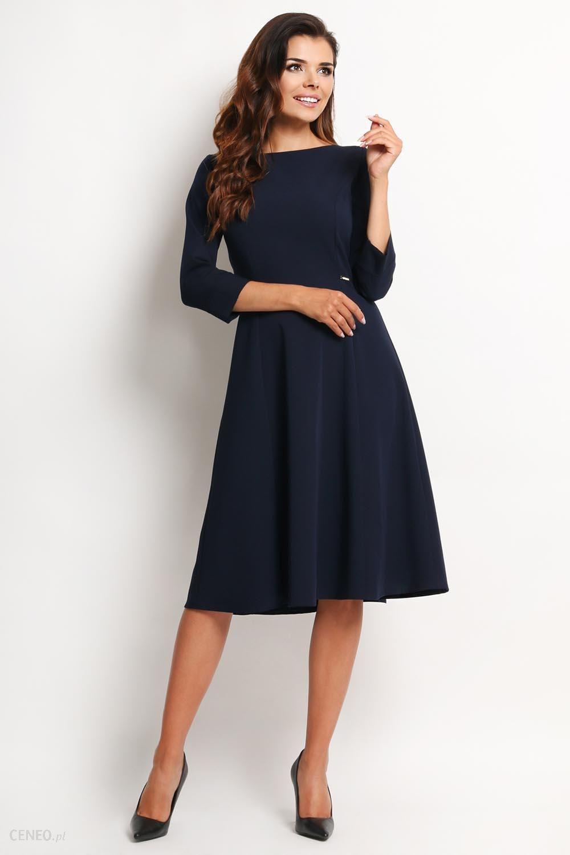 30472fc8ed Awama Granatowa Elegancka Rozkloszowana Sukienka Midi z Rękawem 3 4 -  zdjęcie 1