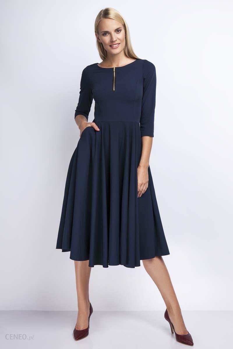 06b51b98ea Nommo Granatowa Rozkloszowana Sukienka za Kolano z Kontrastowym Zamkiem -  zdjęcie 1