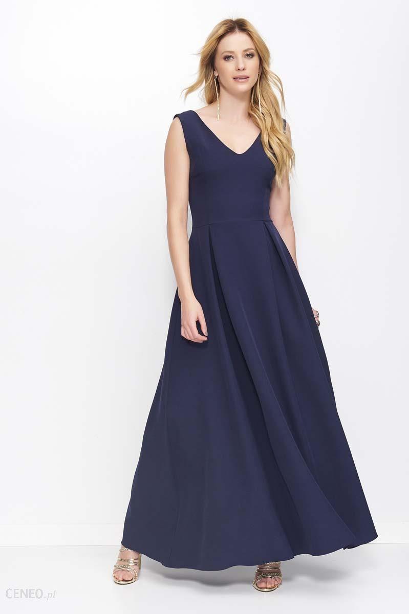 78e23a796d Makadamia Granatowa Sukienka Długa Rozkloszowana na Szerokich Ramiączkach -  zdjęcie 1