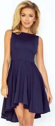 598a5f1543 Numoco Granatowa Sukienka Elegancka Mocno Rozkloszowana z Wydłużonym Tyłem
