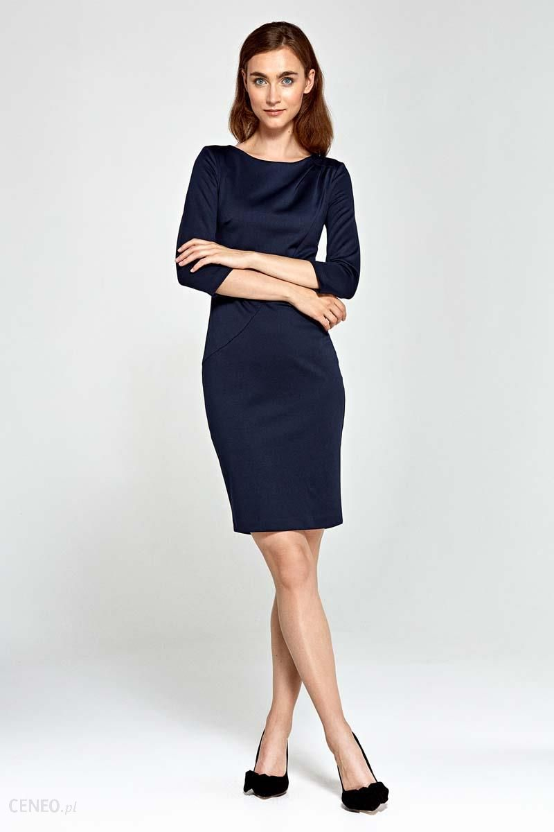 e0e5d41648 Nife Granatowa Sukienka Ołówkowa z Asymetrycznym Drapowaniem - zdjęcie 1