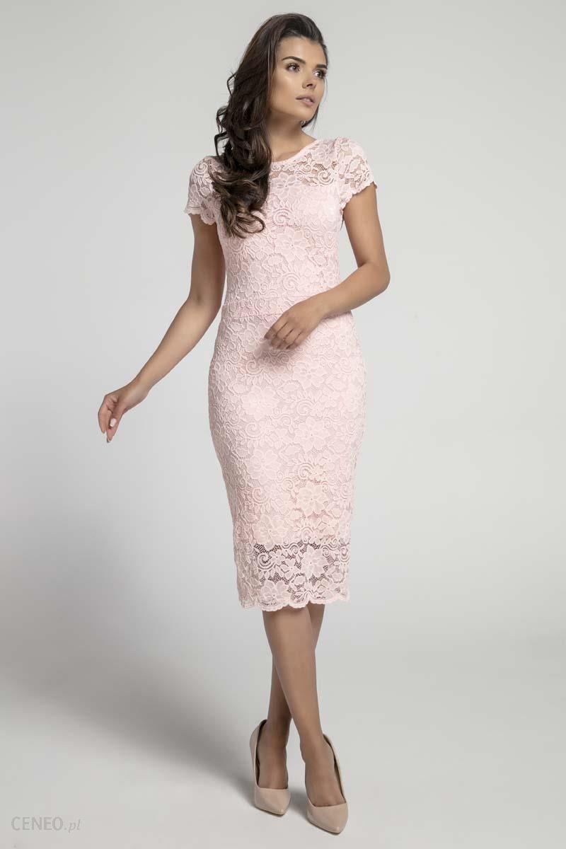 0925caaa02 Nommo Jasnoróżowa Koronkowa Ołówkowa Sukienka Midi z Dekoltem V na Plecach  - zdjęcie 1