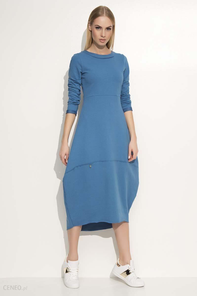 f982f6aa90 Makadamia Jeansowa Sukienka Asymetryczna Bombka Midi z Długim Rękawem -  zdjęcie 1