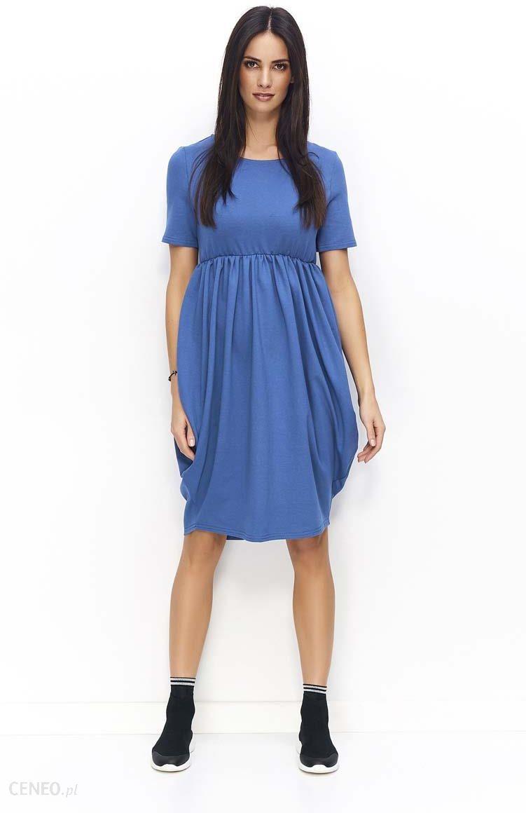 637b29bf80 Makadamia Jeansowa Sukienka Bombka z Krótkim Rękawem i Krótkim Rękawem -  zdjęcie 1