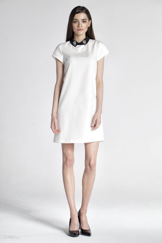 4229cb05dd ABG Kremowa Wizytowa Sukienka z Kołnierzykiem - Ceny i opinie - Ceneo.pl
