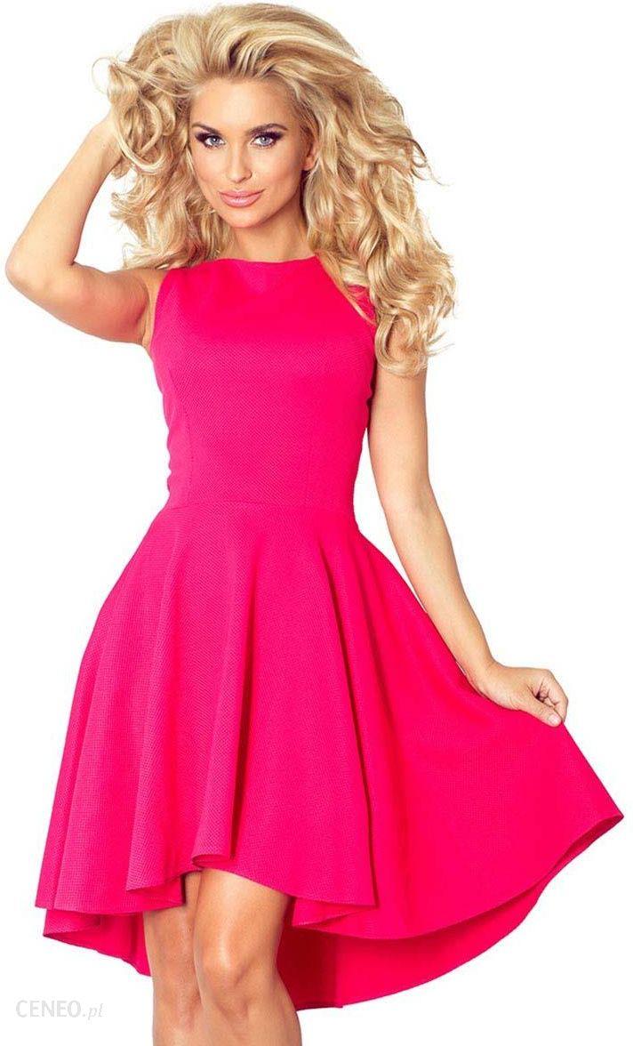 7a57545a6f Numoco Malinowa Sukienka bez Rękawów z Rozkloszowanym Asymetrycznym Dołem -  zdjęcie 1