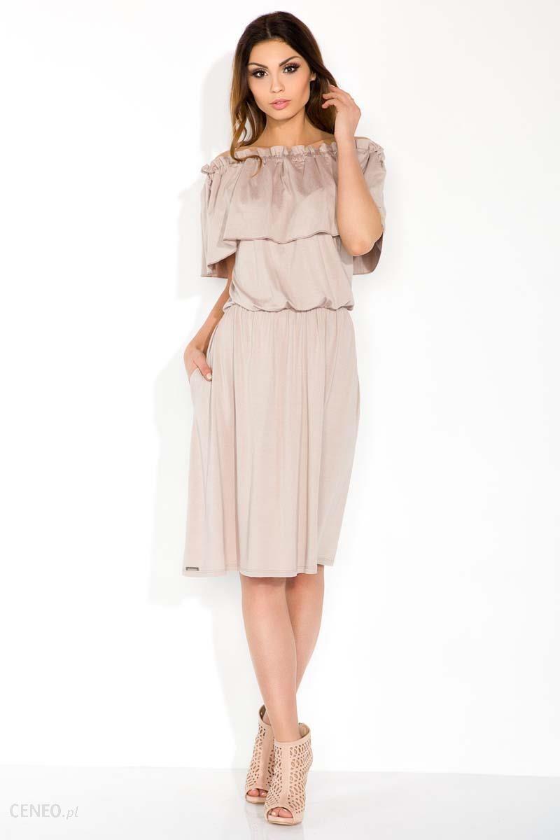 f9a532366e SALE Mocca Sukienka Midi z Hiszpańskim Dekoltem - Ceny i opinie ...