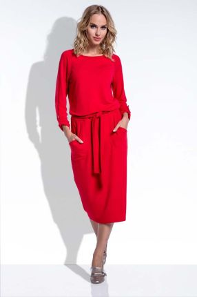 90fb0b962a Fobya Midi Czerwona Sukienka w Stylu Casual z Podpinanymi Rękawami