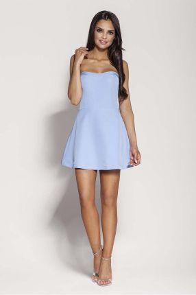 e6efc7e74b Dursi Niebieska Mini Sukienka z Odkrytymi Ramionami