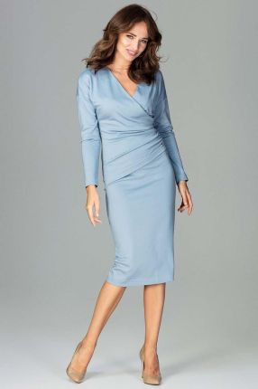 338dbfb3cf Katrus Niebieska Stylowa Sukienka z Kopertowym Dekoltem