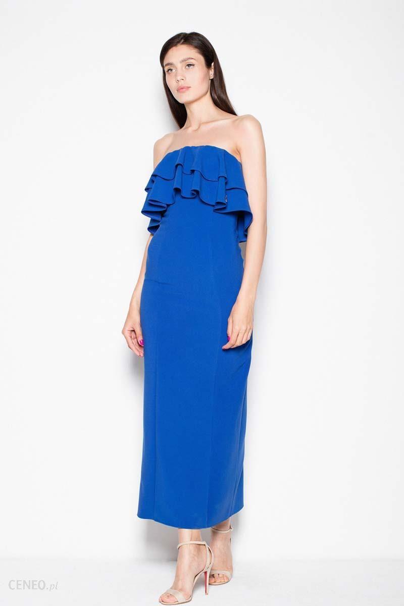 9dd74f1894 Venaton Niebieska Sukienka Długa Elegancka z Falbankami - Ceny i ...
