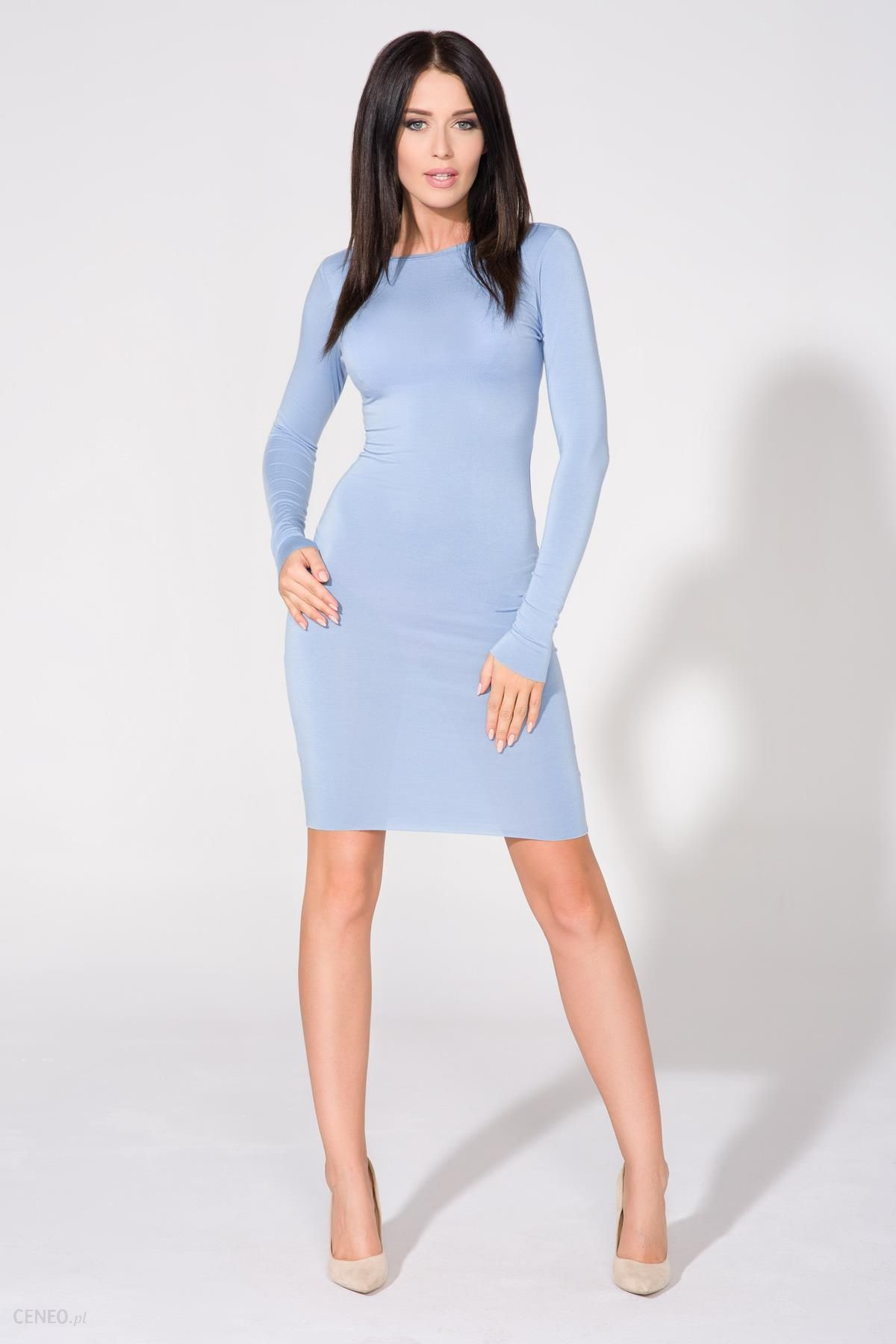 15aaf38969 Tessita Niebieska Sukienka Dopasowana Dzianinowa z Dekoltem na Plecach -  zdjęcie 1