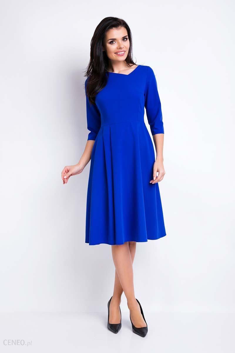 9a7e6b7a55be Awama Niebieska Sukienka Rozkloszowana Midi z Asymetrycznym Dekoltem -  zdjęcie 1