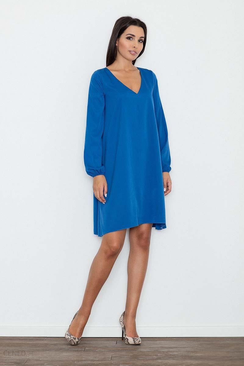 960c62d293 Figl Niebieska Sukienka Trapezowa z Długim Rękawem - Ceny i opinie ...