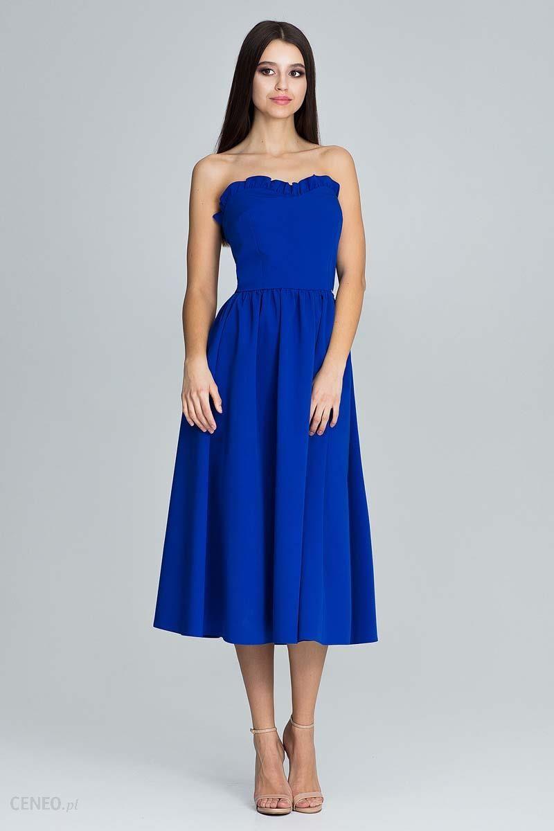 ab8bd8d8ac Figl Niebieska Wieczorowa Midi Sukienka Gorsetowa z Falbankami - zdjęcie 1