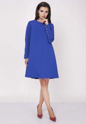 5f21c9d556 Nommo Niebieska Wizytowa Sukienka Trapezowa z Guzikami na Rękawach