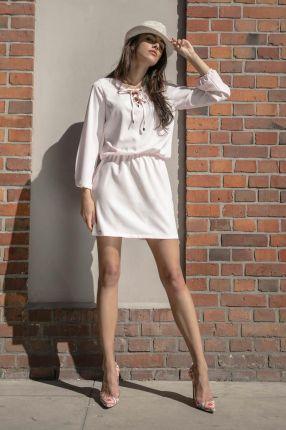180f5e94b6a889 Fobya Pudrowa Codzienna Komfortowa Sukienka Sznurowana przy Dekolcie
