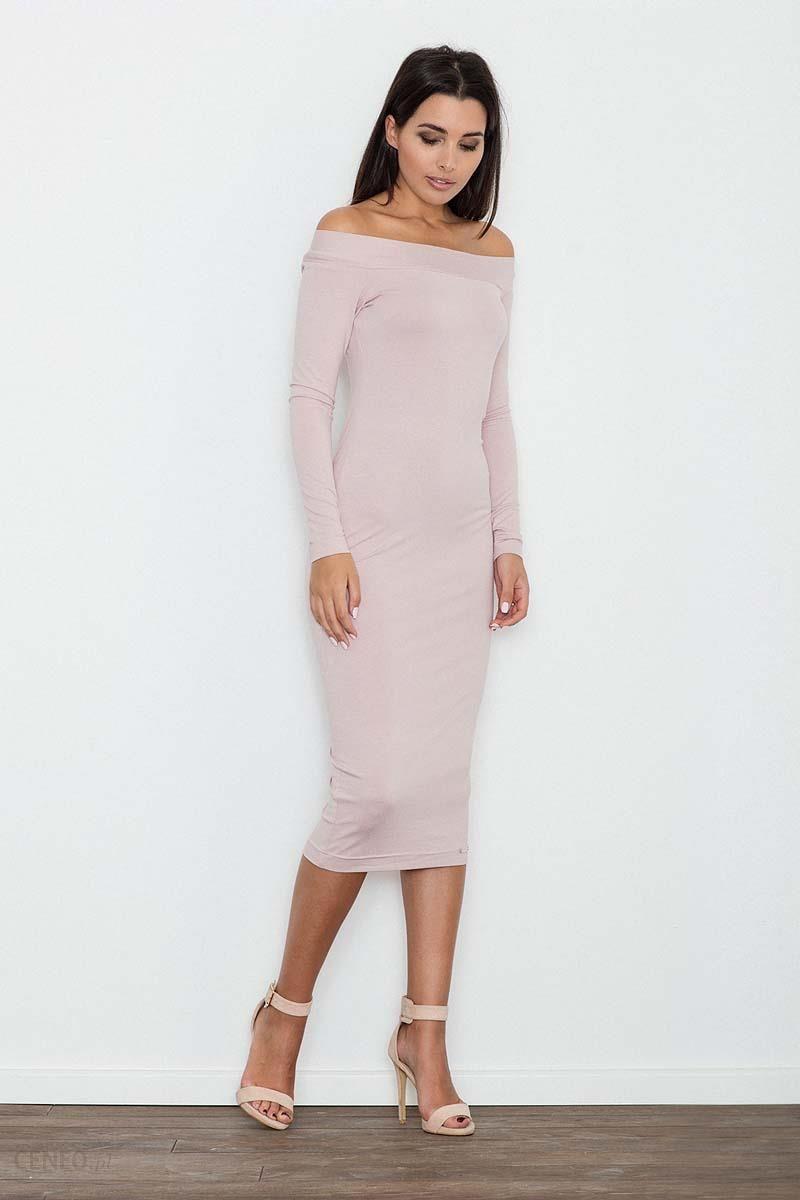 d555fa8f23 Figl Różowa Ołówkowa Sukienka za Kolano z Szerokim Dekoltem - Ceny i ...