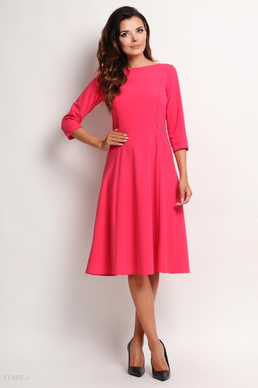 6c4c4c032ca324 Awama Różowa Elegancka Rozkloszowana Sukienka Midi z Rękawem 3/4 - zdjęcie 1