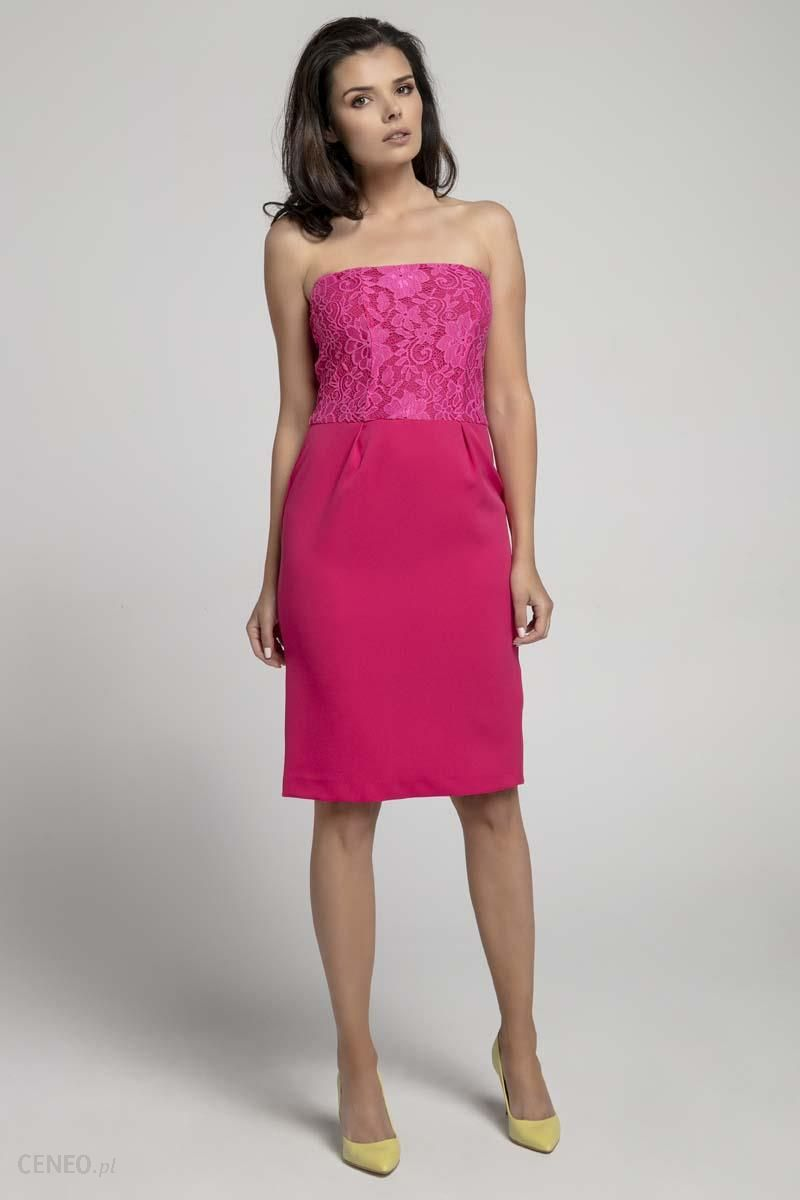 ea5a896664 Nommo Różowa Koktajlowa Sukienka o Fasonie Tuby z Odkrytymi Ramionami z  Koronką - zdjęcie 1