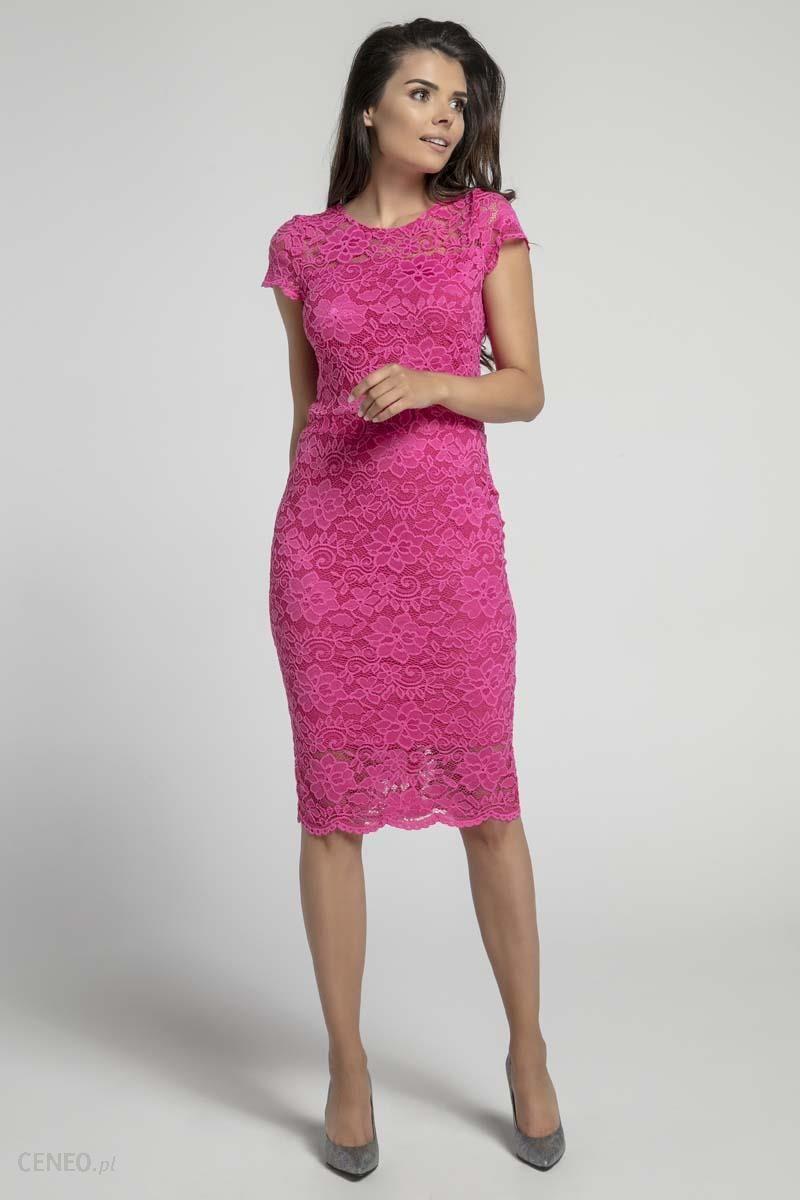8b334fb523 Nommo Różowa Koronkowa Ołówkowa Sukienka Midi z Dekoltem V na Plecach -  zdjęcie 1