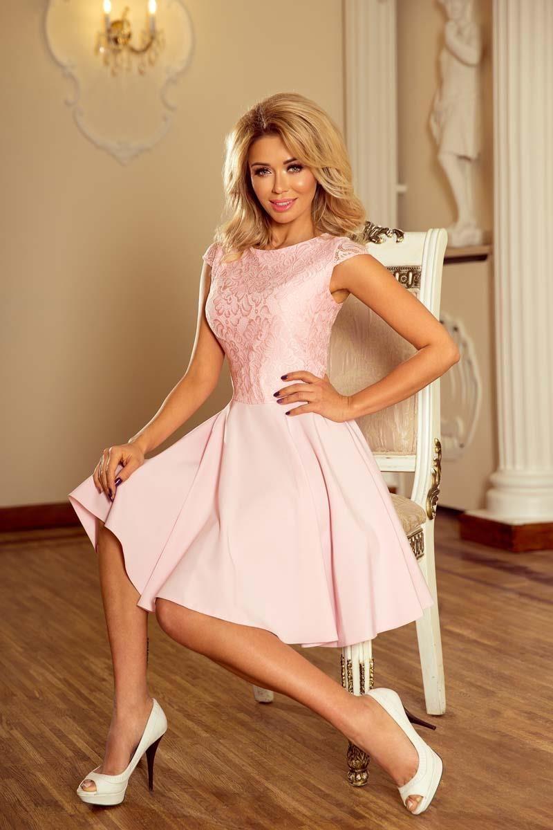 Numoco Różowa Sukienka Elegancka Rozkloszowana z Koronką - zdjęcie 1