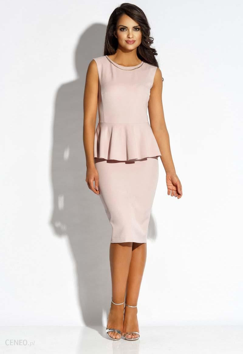 442cc77c67b622 Dursi Różowa Sukienka Ołówkowa bez Rękawów z Baskinką - Ceny i ...